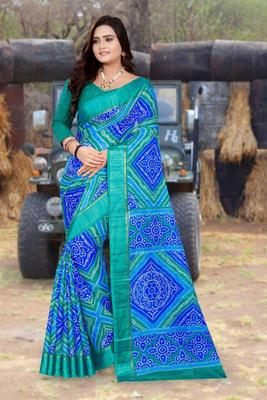 Blue printed net saree with blouse
