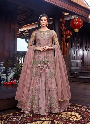 Mauve embroidered net salwar
