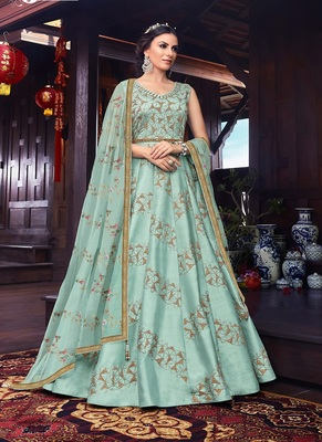 Turquoise embroidered pure silk salwar