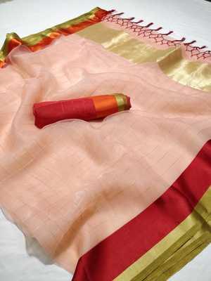 Peach printed organza saree with blouse