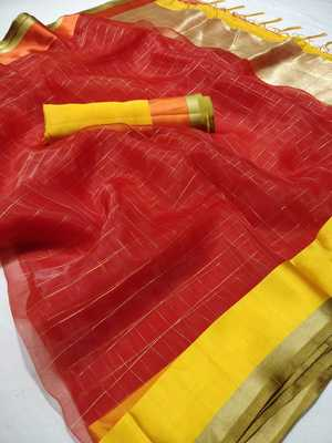 Red printed organza saree with blouse