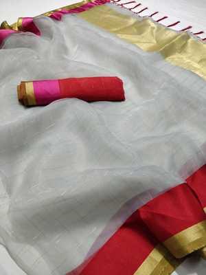 Grey printed organza saree with blouse