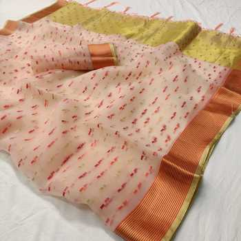 Orange printed organza saree with blouse