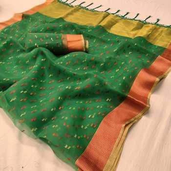 Green printed organza saree with blouse
