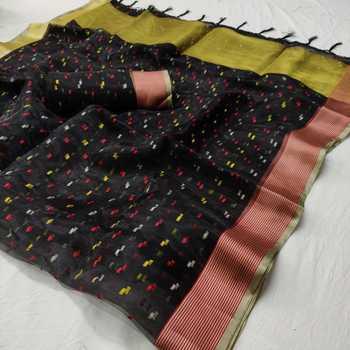 Black printed organza saree with blouse