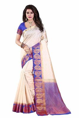 white woven silk blend saree with blouse