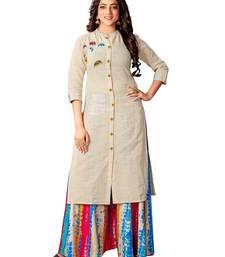 Kimisha Women's Beige Cotton Flex Straight Kurti
