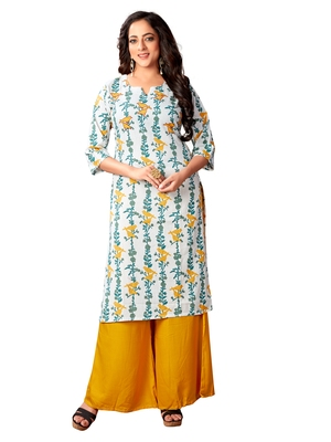 White floral printed cotton Stitched Straight kurta