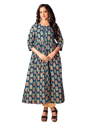 Navy-blue printed cotton kurtas-and-kurtis