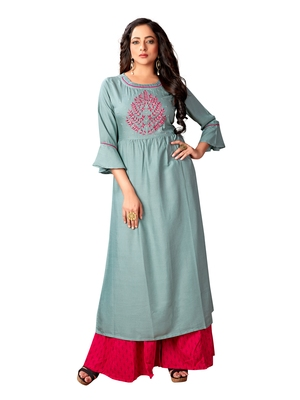 Kimisha Women's Sea Green Rayon Embroidered A Line Kurti