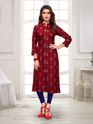 Maroon embroidered rayon party-wear-kurtis
