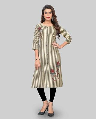 Multicolor embroidered cotton party-wear-kurtis