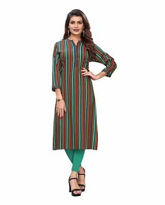 Multicolor printed rayon party-wear-kurtis