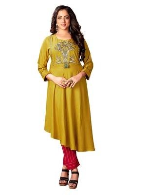 Mahendi Green & Red Cotton Slub A Line Kurti With Plazzo Pant Set