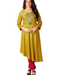 Kimisha Mahendi Green & Red Cotton Slub A Line Kurta With Plazzo Set