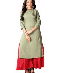 Kimisha Mehndi Green Rayon Embroidered Straight Kurti