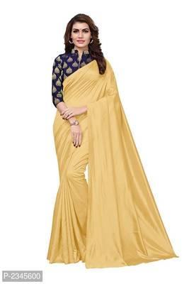 Cream Plain silk blend saree with blouse