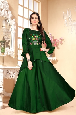 Green Embroidered Satin Stitched Party Wear Gown