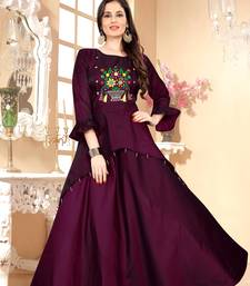 Maroon Embroidered Satin Stitched Party Wear Gown