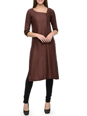 Brown plain cotton long-kurtis