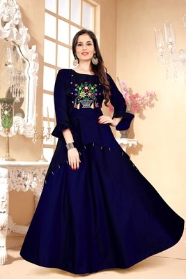 Blue Embroidered Satin Stitched Party Wear Gown