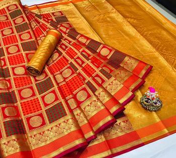 orange woven silk blend saree with blouse