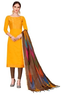 yellow printed banarasi cotton unstitched salwar with dupatta