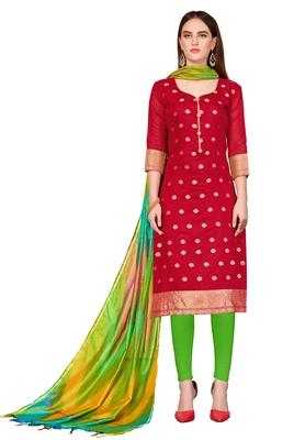 red printed banarasi cotton unstitched salwar with dupatta