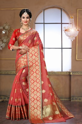 light red woven silk blend saree with blouse