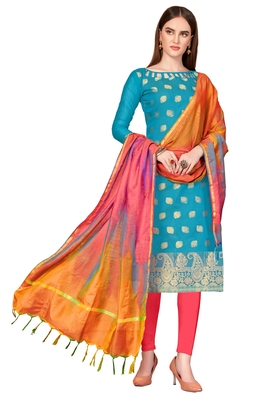 blue printed banarasi cotton unstitched salwar with dupatta