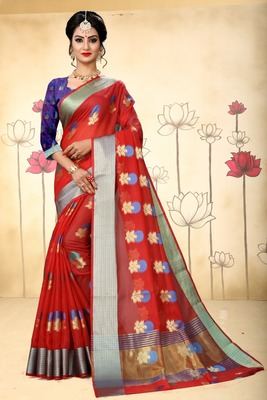dark red woven silk blend saree with blouse