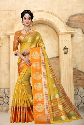 light yellow woven silk blend saree with blouse
