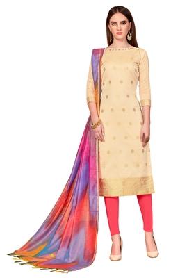 cream printed banarasi cotton unstitched salwar with dupatta