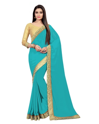 Teal plain georgette saree with blouse