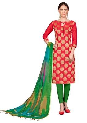 red printed banarasi cotton unstitched salwar with dupatta