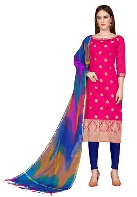 pink printed banarasi cotton unstitched salwar with dupatta