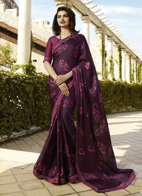 Wine printed silk blend saree with blouse