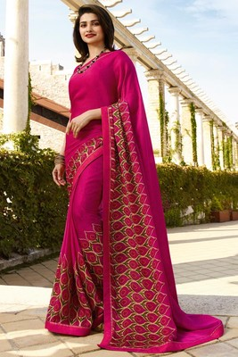 Magenta printed silk blend saree with blouse