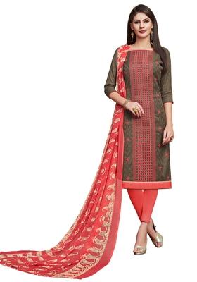 grey printed banarasi cotton unstitched salwar with dupatta