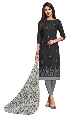 black printed banarasi cotton unstitched salwar with dupatta