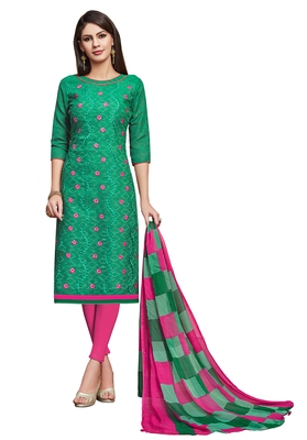 green printed banarasi cotton unstitched salwar with dupatta