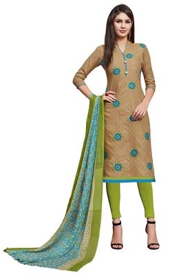 beige printed banarasi cotton unstitched salwar with dupatta