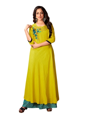 Blissta Parrot Green Rayon Slub Embroidered Anarkali Kurti For Women