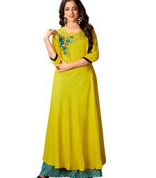 Blissta Parrot Green Rayon Slub Embroidered Anarkali Kurti For Women