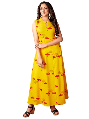 Blissta Mustard Rayon Printed Anarkali Long Kurti For Women's