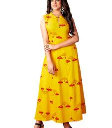 Blissta Mustard Rayon Printed Anarkali Long Kurti For Women's