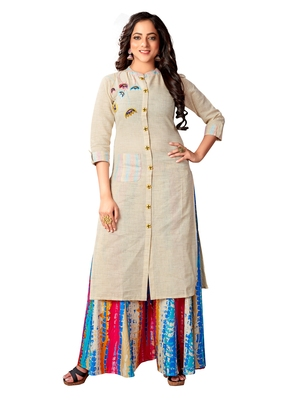Blissta Women's Beige Cotton Flex Embroidered Straight Kurti