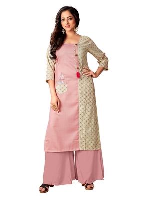 Blissta Baby Pink & Off White Cotton Slub Straight Party Wear Kurti For Women's