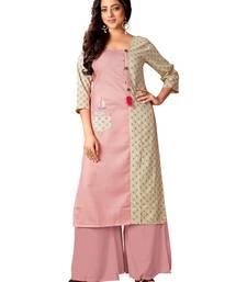 Blissta Baby Pink & Off White Cotton Slub Straight Party Wear Kurti For Women's