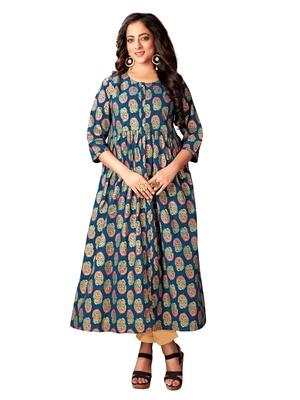 Blissta Navy Blue Cotton Foil Print Festive Wear Anarkali Kurti For Girl's /Women's